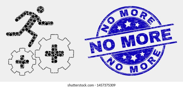 Pixel patient run over gears mosaic pictogram and No More watermark. Blue vector rounded textured seal stamp with No More message. Vector combination in flat style.