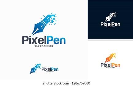 Pixel Pen logo designs concept vector, Creator logo template designs