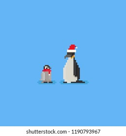 Pixel Penguins with scarf and santa hat.8bit.christmas.
