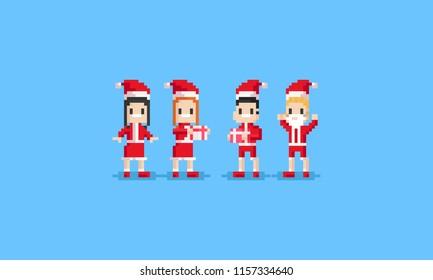 Pixel people in santa costume.8bit character.