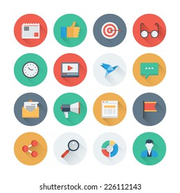 Pixel perfect flat icons set with long shadow effect of digital marketing symbol, business development items, social media objects and office equipment. Flat design style modern pictogram collection.