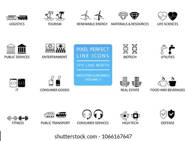 Pixel perfect thin line icons and symbols of various industries / business sectors like public services, consumer goods, defence, life sciences, high-tech, resources, IT, logistics.
