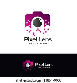 pixel photo logo designs, photo technology logo designs concept