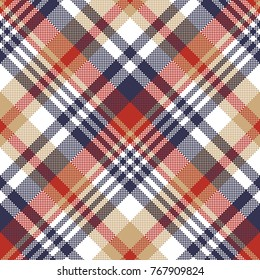 Pixel plaid textile tartan seamless pattern. Vector illustration.