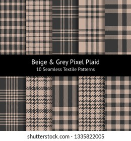 Pixel plaid vector patterns in beige & grey. Set of 10 seamless tartan check plaid patterns for textile design, including gingham / vichy styles.