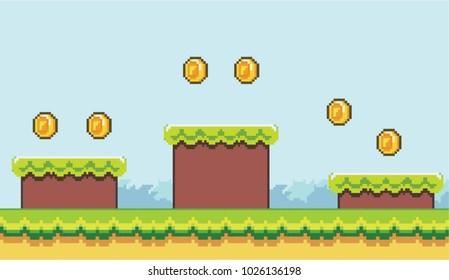 Pixel Platformer Background with Platforms and Coins - Mobile Game Assets