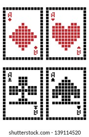 Pixel playing cards - aces