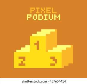 Pixel podium for winners, pixelated illustration. - Stock vector