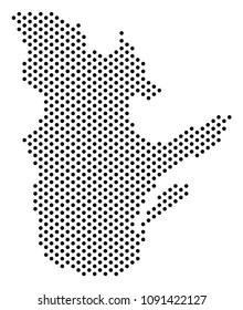 Pixel Quebec Province map. Vector territory scheme. Cartographic pattern of Quebec Province map created from circle spots.