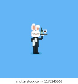 Pixel rabbit butler holding wine on the left hand.8bit character.