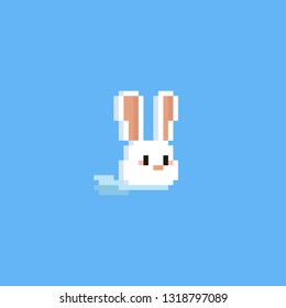 Pixel rabbit head with blue scarf.Easter day.8bit.