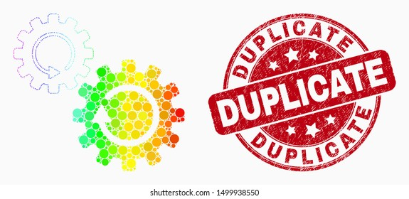 Pixel rainbow gradiented gears rotation mosaic pictogram and Duplicate watermark. Red vector rounded distress seal stamp with Duplicate phrase. Vector collage in flat style.