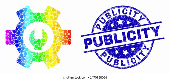 Pixel rainbow gradiented repair options mosaic icon and Publicity seal stamp. Blue vector rounded scratched seal stamp with Publicity text. Vector combination in flat style.