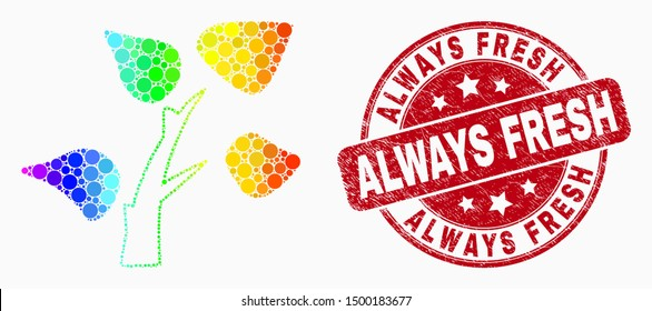 Pixel rainbow gradiented tree plant mosaic icon and Always Fresh seal stamp. Red vector rounded textured seal stamp with Always Fresh caption. Vector collage in flat style.