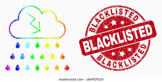 Pixel rainbow mosaic storm cloud mosaic pictogram and Blacklisted stamp. Red vector rounded textured seal stamp with Blacklisted text. Vector combination in flat style.