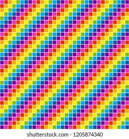 Pixel Rainbow Mosaic Tile, EPS8 Vector