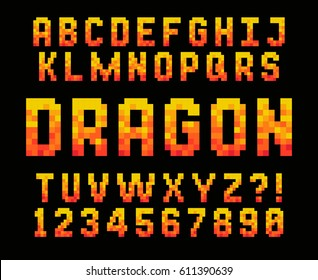 Pixel red font Video computer game design 8 bit letters and numbers Electronic futuristic style Vector abc