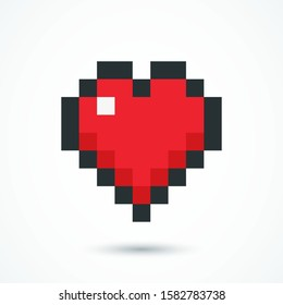 Pixel red heart web icon. Heart symbol isolated on white background. Gaming concept. Vector illustration. EPS 10