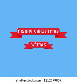 Pixel red ribbon with merry christmas text.8bit.