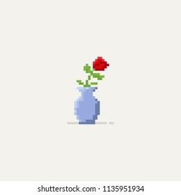 Pixel red rose in the vase.8bit.flower.