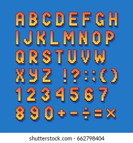 Pixel retro font computer games, videos, web sites. 8 bit letters, numbers and symbols.