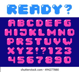 Pixel retro font with hotspot Video computer game design 8 bit letters and numbers Electronic futuristic style Vector abc