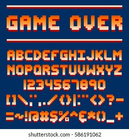 Pixel retro font video computer game design 8 bit letters and numbers electronic futuristic style and vector abc typeface digital creative alphabet.