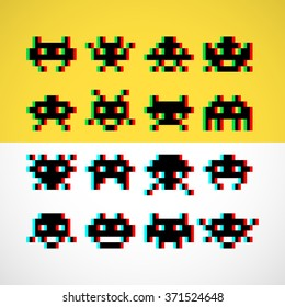 Pixel retro monsters with screen distortion. Vector illustration.