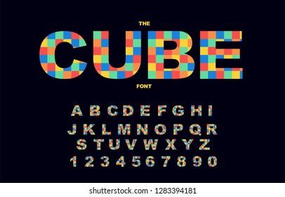 Pixel retro video game font. 80's retro alphabet font. 8 bit letters and numbers typeface. Vector illustration.