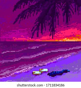 Pixel retro wave sunset with palm tree and ocean. Vector illustration