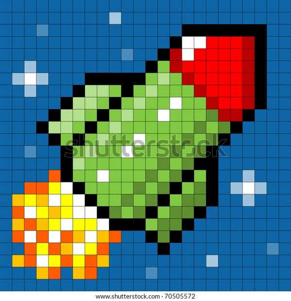 Pixel Rocket in Space