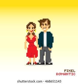 Pixel romantic couple, pixelated illustration. - Stock vector
