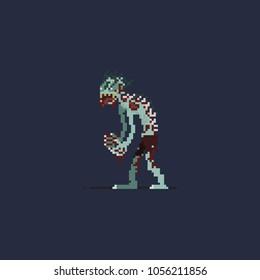 Pixel runner zombie.halloween 8 bit art vector illustration.