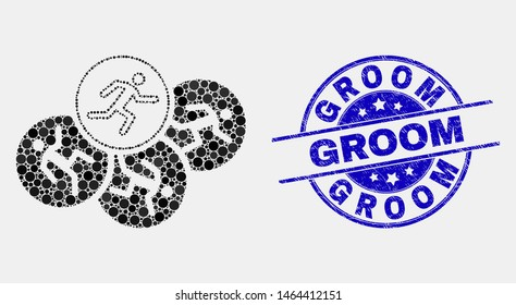 Pixel running persons mosaic icon and Groom seal. Blue vector rounded textured seal stamp with Groom phrase. Vector collage in flat style. Black isolated running persons mosaic of random dots,