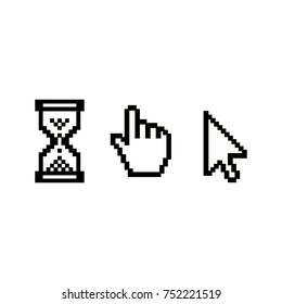 PIxel sand glass, hand cursor and cursor