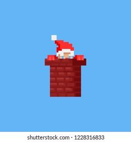 Pixel santa in the chimney.Christmas.8bit.