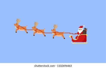 Pixel santa claus riding his flying sleigh.