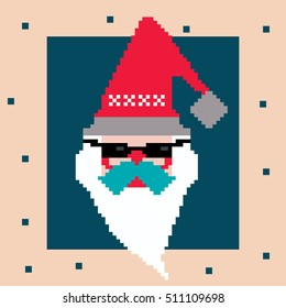 Pixel Santa. Vector cartoon character logo in red hat and dark glasses, white beard and blue moustache