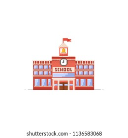 Pixel school building.8bit.Education icon.