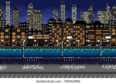 Pixel seamless background with the image of the night city.Vector. Splits into segments. For games and mobile applications.