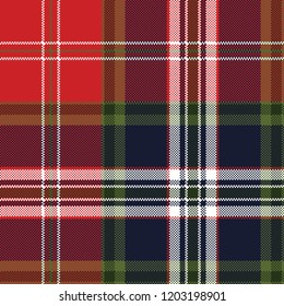 Pixel seamless pattern check fabric texture. Vector illustration.