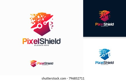 Pixel Shield logo designs concept vector, Elegant Technology Secure logo template