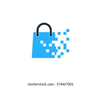 Pixel Shop And Shopping Logo Design Element