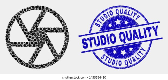 Pixel shutter mosaic pictogram and Studio Quality seal stamp. Blue vector rounded distress seal stamp with Studio Quality text. Vector collage in flat style.