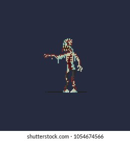 Pixel skeleton zombie.halloween.8bit art vector illustration.