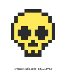 pixel skull pixel art cartoon retro game style