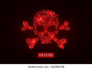 Pixel skull and crossbones. The concept of hacker attack, computer virus, pirate symbol. Vector illustration.