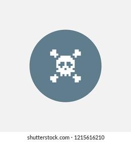 Pixel skull and crossbones icon. Vector illustration