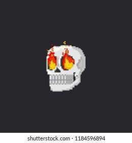 Pixel skull head with fire eyes.8bit halloween.