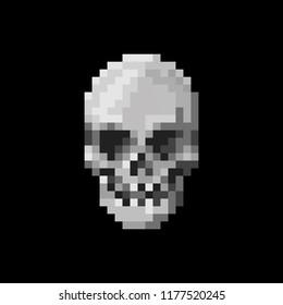 Pixel skull logo vector illustration on black background. Game old style skull illustration.
